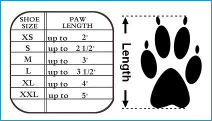 dog booties size chart