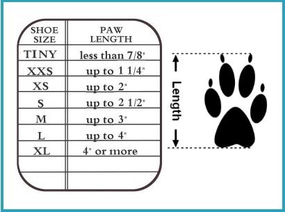 pawz booties size chart