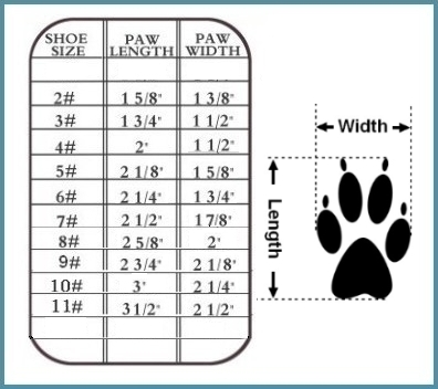 dog sandals size Chart