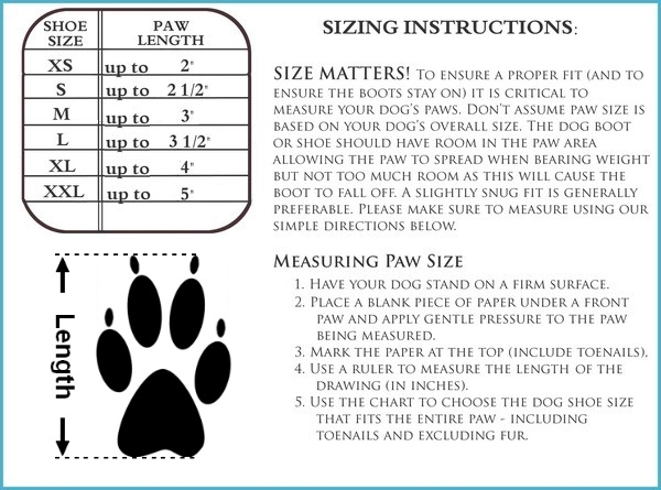 Indoor Dog Boot Size Chart