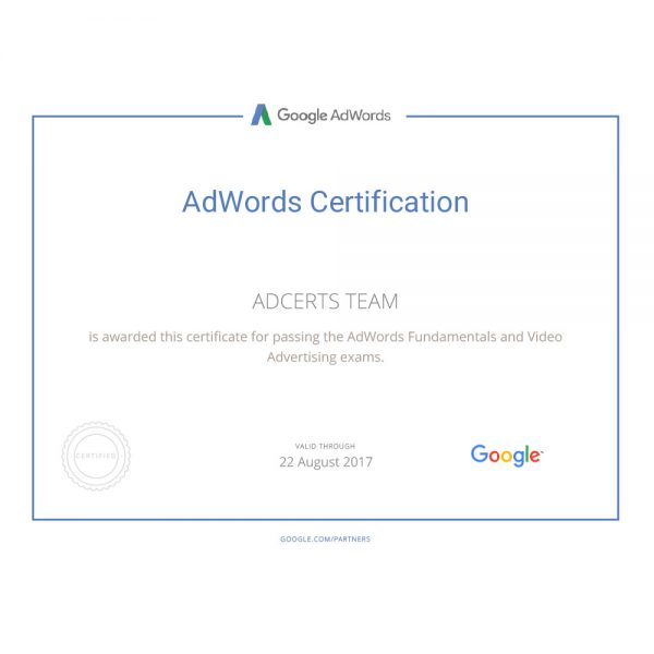 AdWords Video Certified