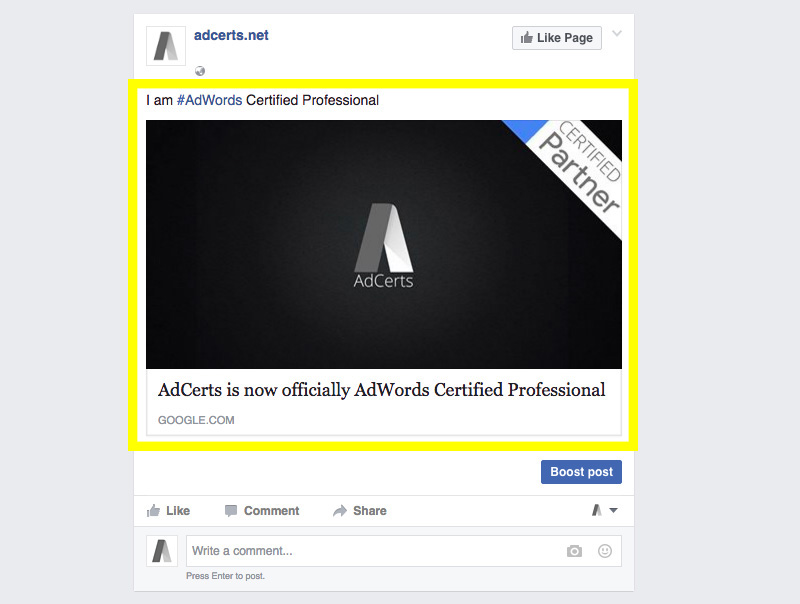 adwords-certification-share-on-facebook-page-post