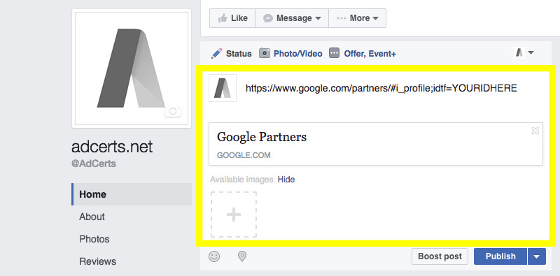 adwords-certification-facebook-page-shared-url-optimization