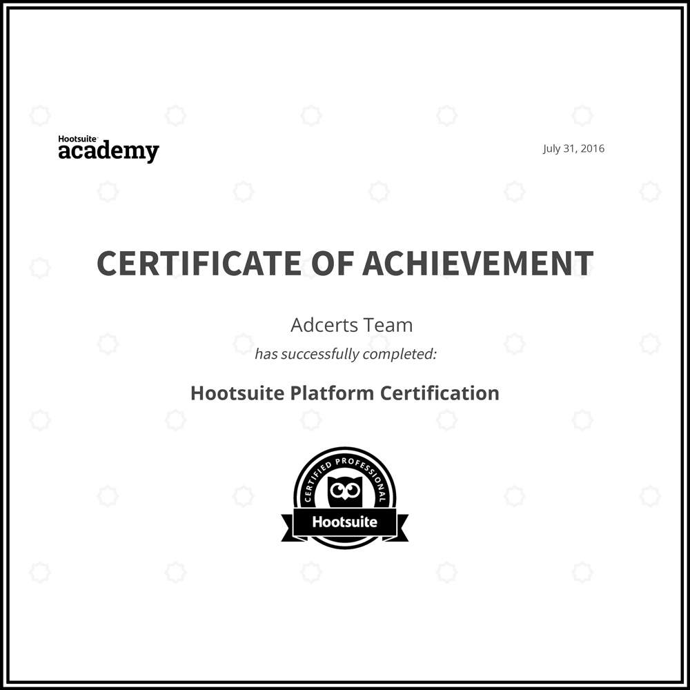 Hootsuite Platform Certificate of Achievement AdCerts Team