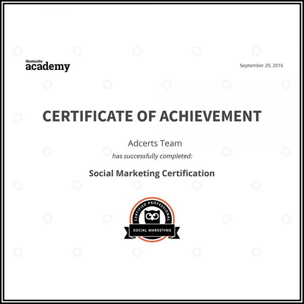 Hootsuite Social Marketing Certificate of Achievement AdCerts Team