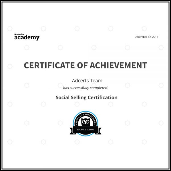 Hootsuite Social Selling Certificate of Achievement AdCerts Team