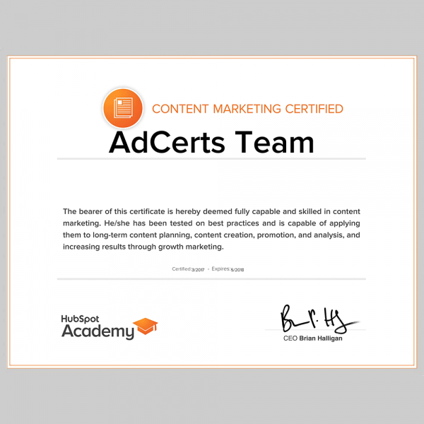 HubSpot Content Marketing Certification Exam Score