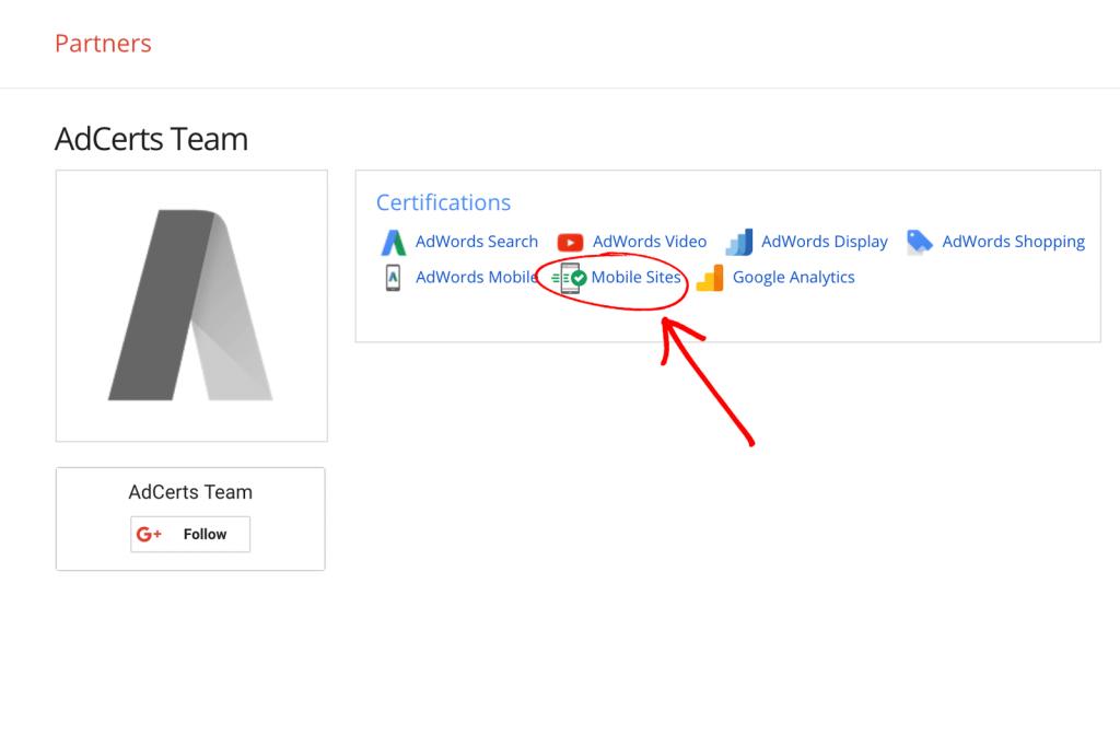 Google AdWords Mobile Sites Certification Certified Badge - AdCerts Team