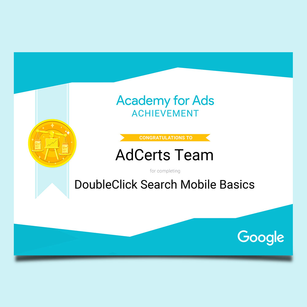 Academy for Ads Achievement DoubleClick Search Mobile Basics Certification
