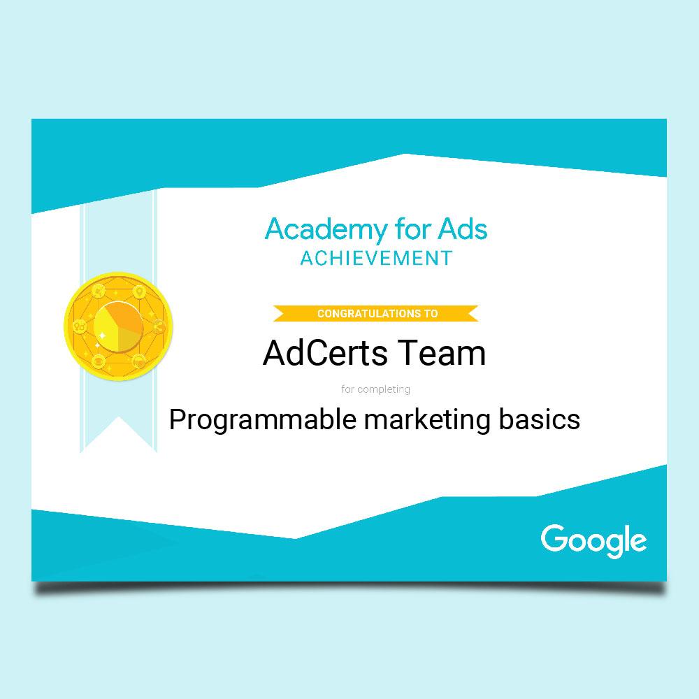 Academy for Ads Achievement Programmable Marketing Basics Certification