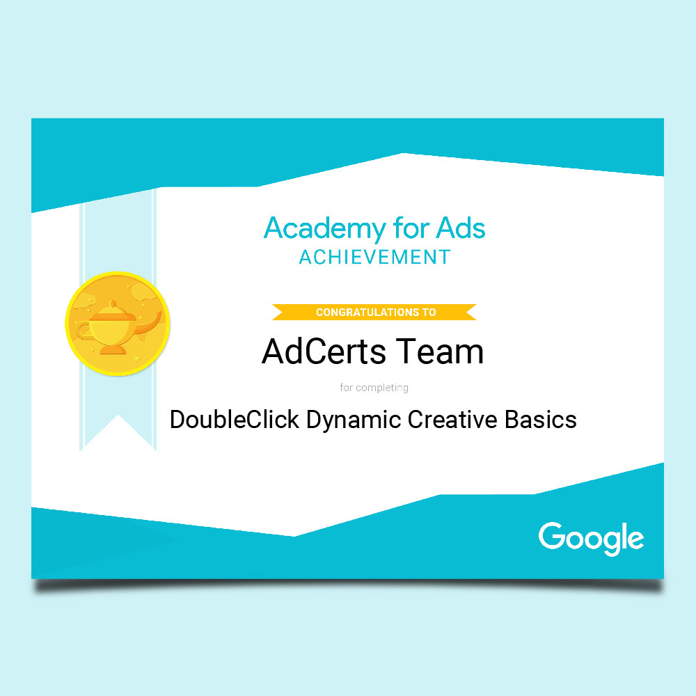 Academy for Ads Achievement DoubleClick Dynamic Creative Basics Certification
