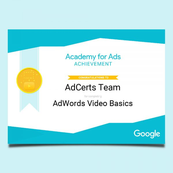 Academy for Ads Achievement AdWords Video Basics Certification