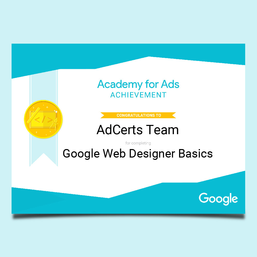 Academy for Ads Achievement Google Web Designer Basics Certification