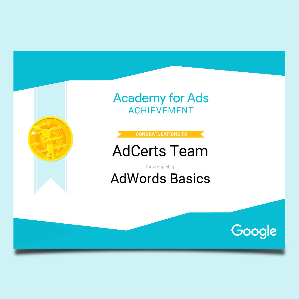 Academy for Ads Achievement AdWords Basics Certification