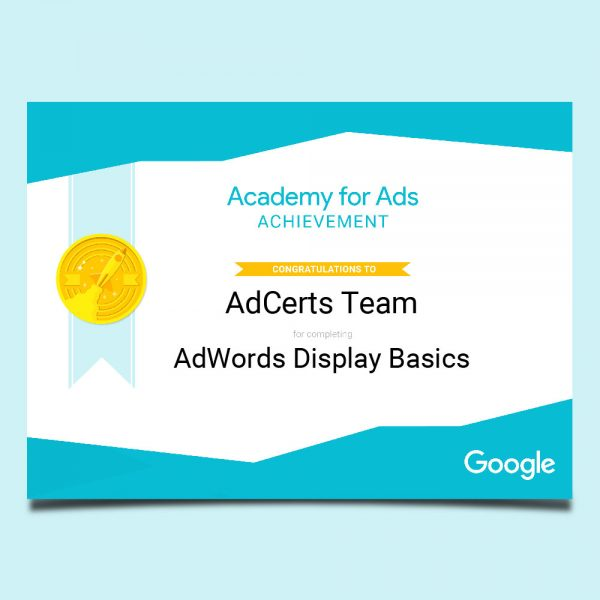 Academy for Ads Achievement AdWords Display Basics Certification