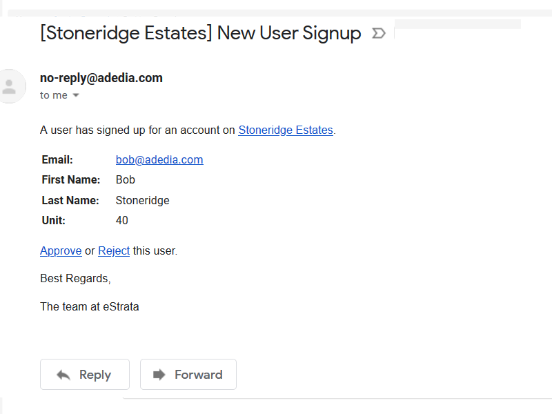 Email Notifiers are sent out to eStrata customers