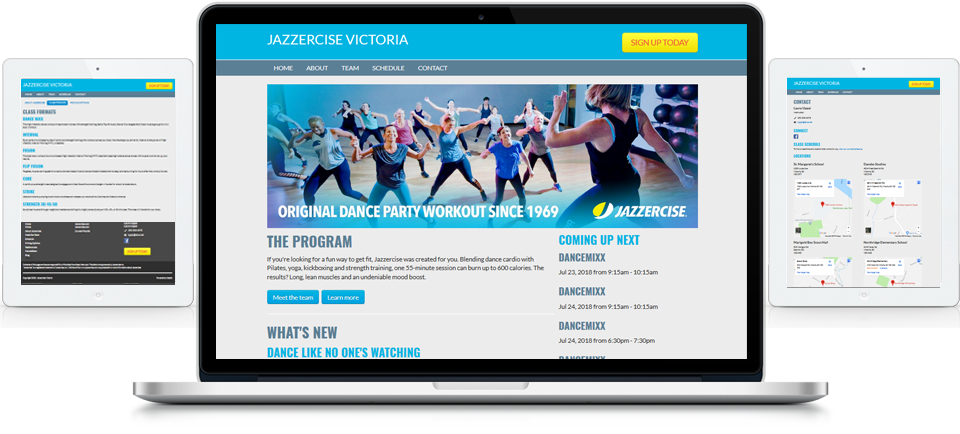 Jazzercise Instructor Websites, Franchise Websites - Adedia - Victoria - Edmonton
