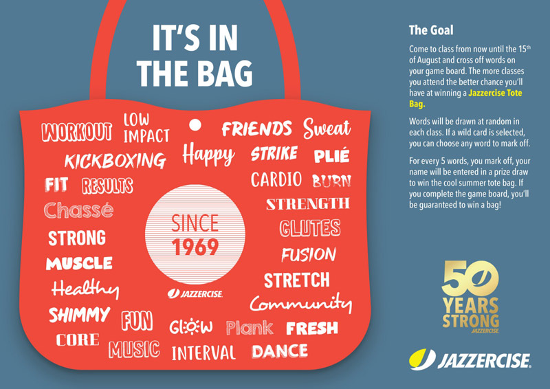 It's in the bag. Summer Challenge. Jazzercise Cambourne