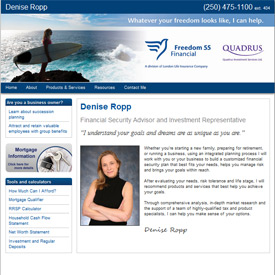 Denise Ropp Comox Courtney BC  - A Freedom 55 Financial Security Advisor website by Adedia
