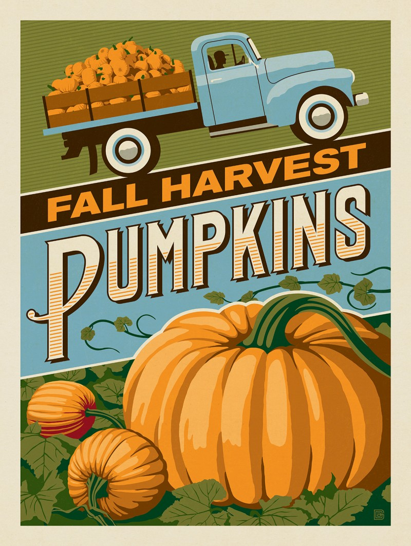 Anderson Design Group Vintage Ad Follies Fall Harvest Pumpkins