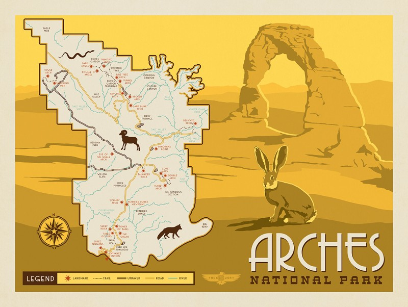 Anderson Design Group – 61 American National Parks – Map of Arches ...
