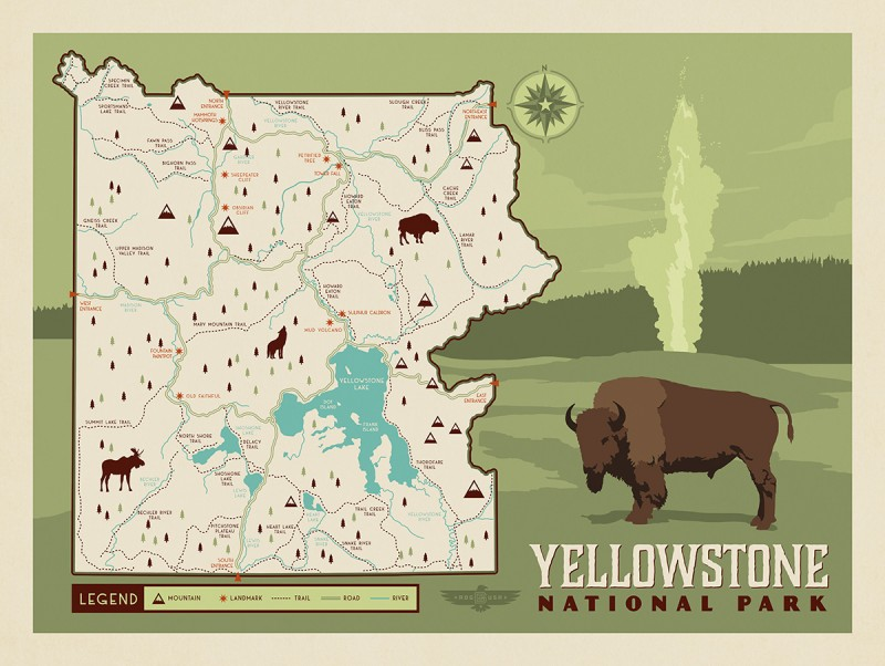 Anderson Design Group – 60 American National Parks – Map of ...