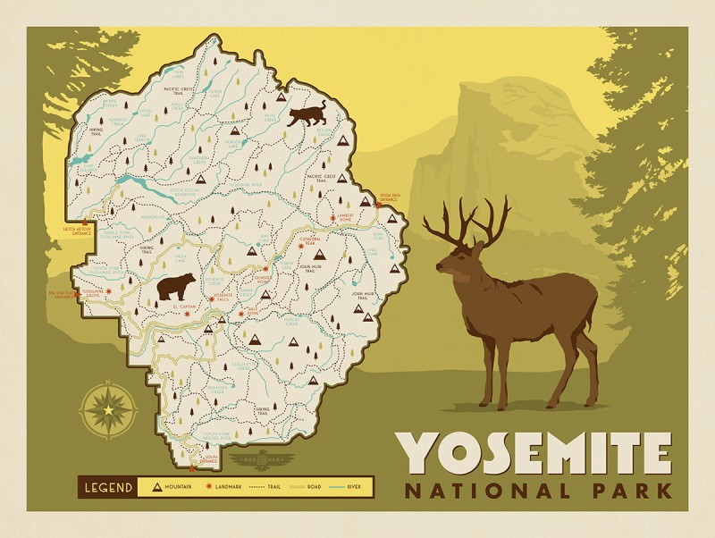 Anderson design group american national parks map of for Design hotel yosemite