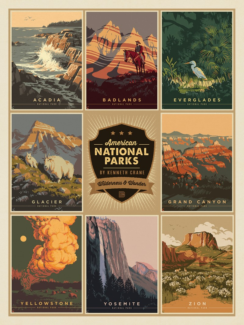 Multi Image Print National Parks By Kenneth Crane