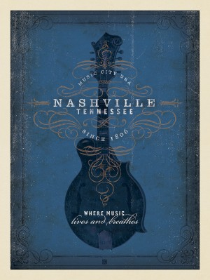 Music City: Blue Mandolin Print