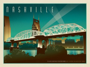 Nashville Skyline: Pedestrian Bridge, Horizontal