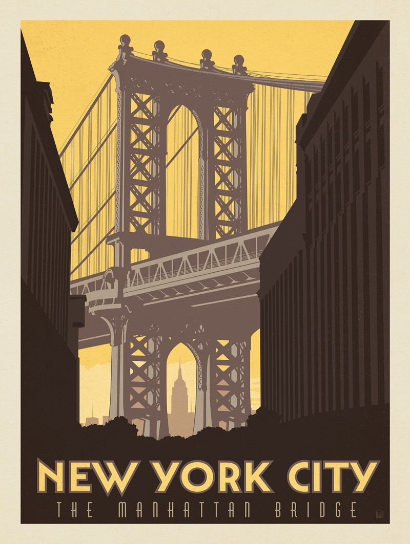 Poster design new york - New York City Manhattan Bridge Table1