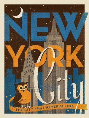 New York Vintage Print: Night Owl