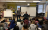 Authors Richard Scrimger and Ted Staunton leading students in a Story Team workshop.