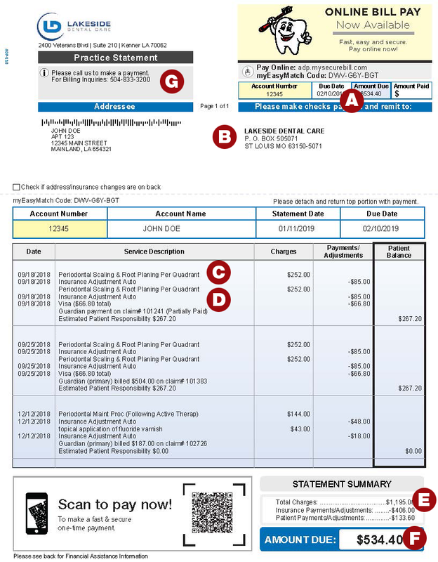 Bill Statement Example & Explanation | Metro Dentalcare ...