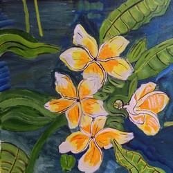 THE YELLOW FLOWERS AND GREEN LEAVES size - 15x14In - 15x14