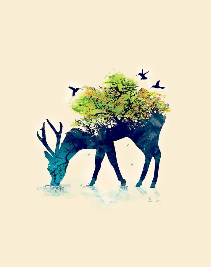 Deer with the Tree size - 18x23In
