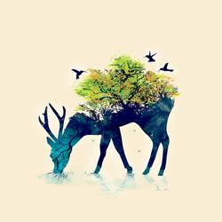Deer with the Tree size - 18x23In art print by AdroitArt