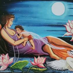 Mothers love for child in Moonlight size - 16x12In - 16x12