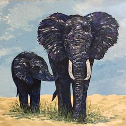 Ma and baby elephant size - 70x48In - 70x48