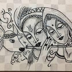Radha Krishna Black and white size - 12x10In - 12x10