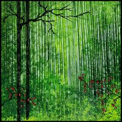 Green Forest size - 15x15In art print by AdroitArt