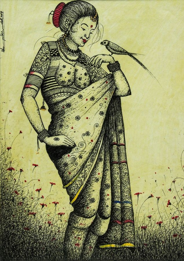 Traditional Woman in Sari size - 18x13In
