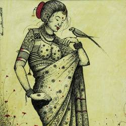 Traditional Woman in Sari size - 18x13In art print by AdroitArt