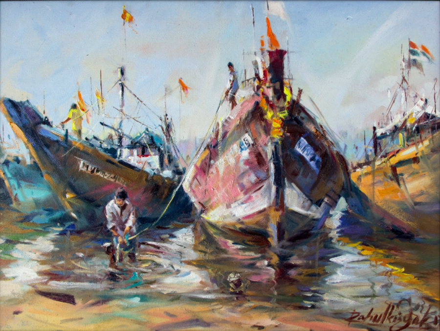 Fishing Boats on Sea Sore size - 20x15In