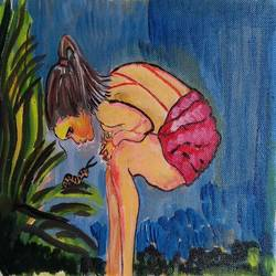 THE GIRL AND THE CATERPILLAR size - 12x8In - 12x8