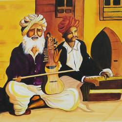 Man playing Violin and Harmonium with old friend size - 18x24In - 18x24