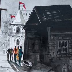 Street Of Varanasi size - 14x11In - 14x11