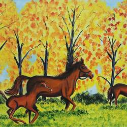 Landscape photo realism with Horse size - 18x24In - 18x24