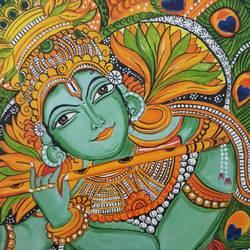 Madhubani Painting Krishna size - 10x12In - 10x12