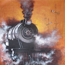 Nostalgia of Steam Locomotives 27 size - 36x36In - 36x36
